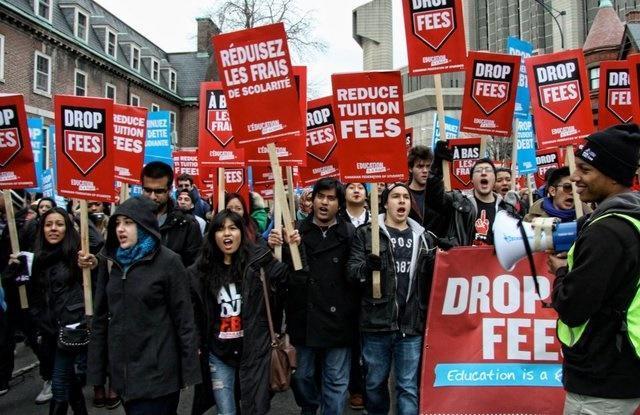 تظاهرات دانشجویان کانادایی در حمایت از تحصیل رایگان